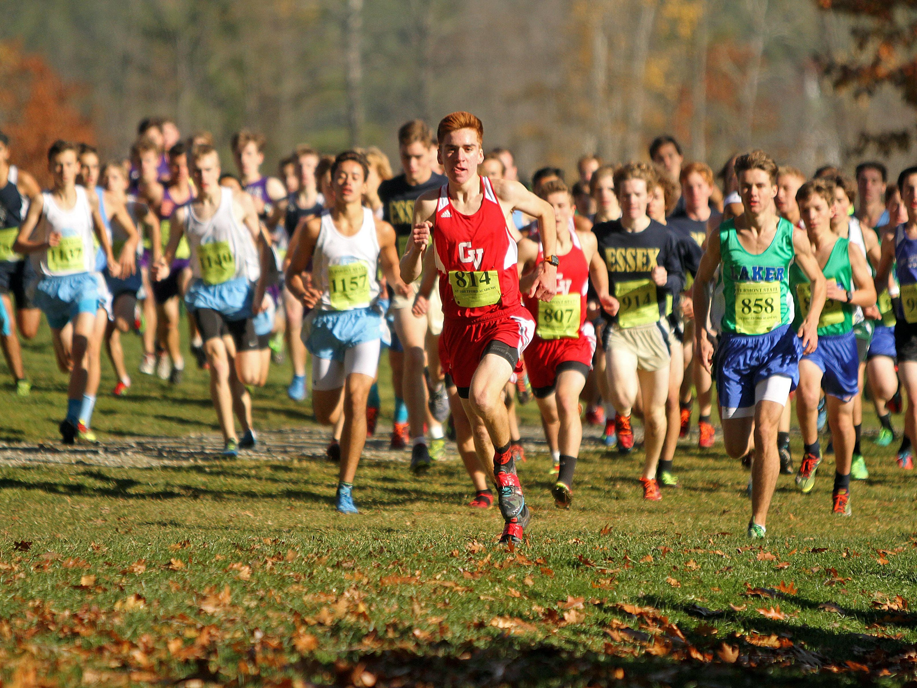 Eventual winner CVU's Tyler Marshall (814) leads at the start of the Division I high school boys state championship cross country race Saturday at Thetford Academy.