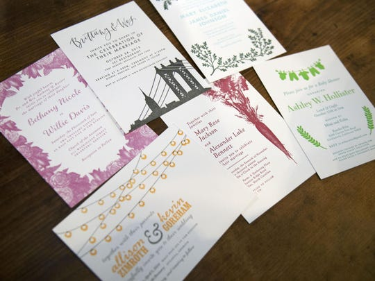 Custom wedding invitations all hand made with paper stock, ink and a hand press by letterpresser Macon York in her studio in West Asheville.