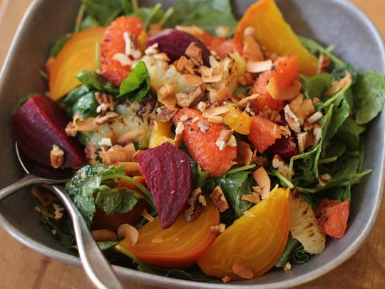 Add roasted beats and lightly charred citrus segments with nicely dressed greens for a robust salad.