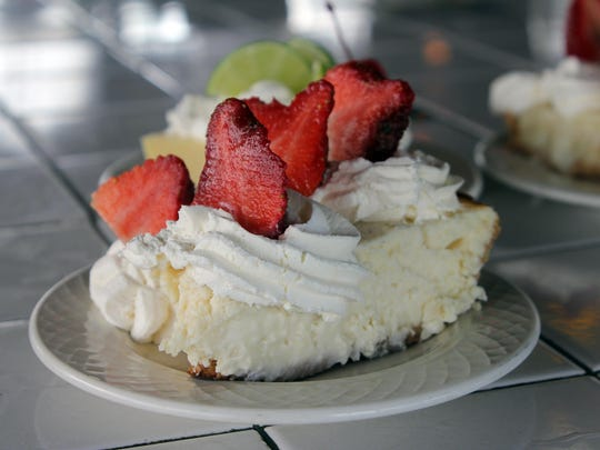 The chef's creamy cheesecake has a slightly more solid texture than normal.