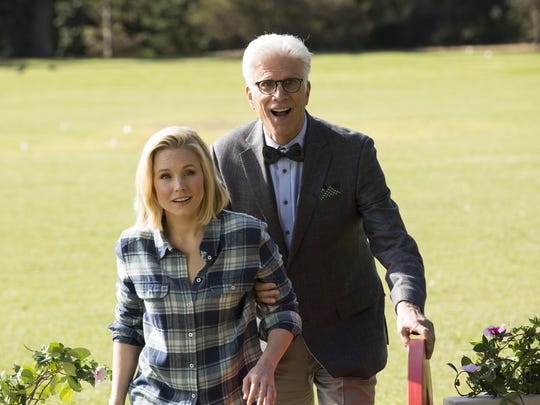 "Eleanor (Kristen Bell) and Michael (Ted Danson) find themselves in ""The Good Place."""