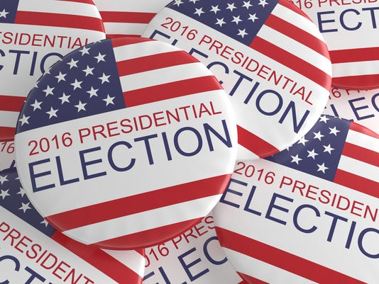 Pile Of US Presidential Election 2016 Badges, 3d illustration