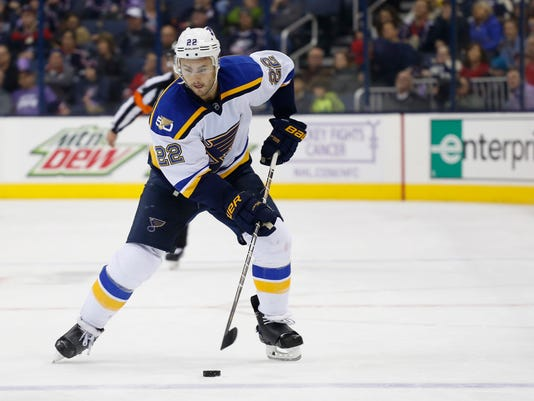 This Nov. 12, 2016 photo shows St. Louis Blues' Kevin Shattenkirk playing against the Columbus Blue Jackets during an NHL hockey game in Columbus, Ohio. The Washington Capitals acquired Shattenkirk in a trade with the St. Louis Blues on Monday, Feb. 27, 2017. (AP Photo/Jay LaPrete)