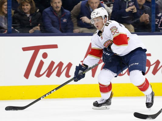 FILE - In this March 16, 2017, file photo, Florida Panthers' Jonathan Marchessault plays against the Columbus Blue Jackets during an NHL hockey game in Columbus, Ohio. The Vegas Golden Knights picked Marchessault in the expansion draft Wednesday, June 21, 2017. (AP Photo/Jay LaPrete, File)