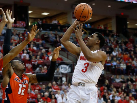 Ohio State's C.J. Jackson plays against Illinois during an NCAA college basketball game last year. Jackson is the team's leading returning scorer this year.