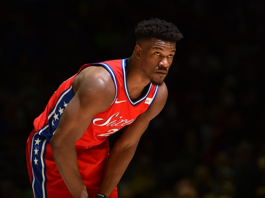 PHILADELPHIA, PA - FEBRUARY 12: Jimmy Butler #23 of the Philadelphia 76ers looks on against the Boston Celtics on February 12, 2019 at the Wells Fargo Center in Philadelphia, Pennsylvania NOTE TO USER: User expressly acknowledges and agrees that, by downloading and/or using this Photograph, user is consenting to the terms and conditions of the Getty Images License Agreement. Mandatory Copyright Notice: Copyright 2019 NBAE (Photo by Jesse D. Garrabrant/NBAE via Getty Images)