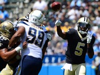 Aug 18, 2019; Carson, CA, USA; New Orleans Saints quarterback Teddy Bridgewater (5) passes against the Los Angeles Chargers during the second quarter at Dignity Health Sports Park. Mandatory Credit: Jake Roth-USA TODAY Sports