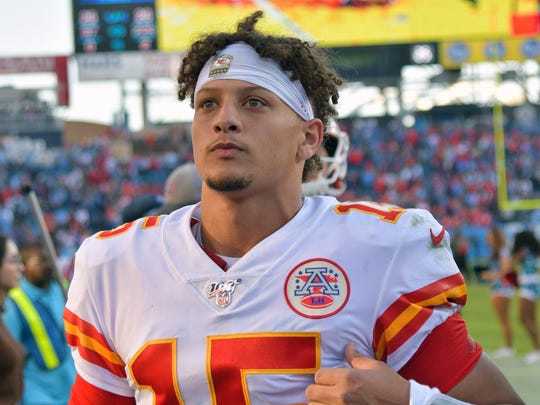 Nov 10, 2019; Nashville, TN, USA; Kansas City Chiefs quarterback Patrick Mahomes (15) walks off the field after the game against the Tennessee Titans at Nissan Stadium. Mandatory Credit: Jim Brown-USA TODAY Sports