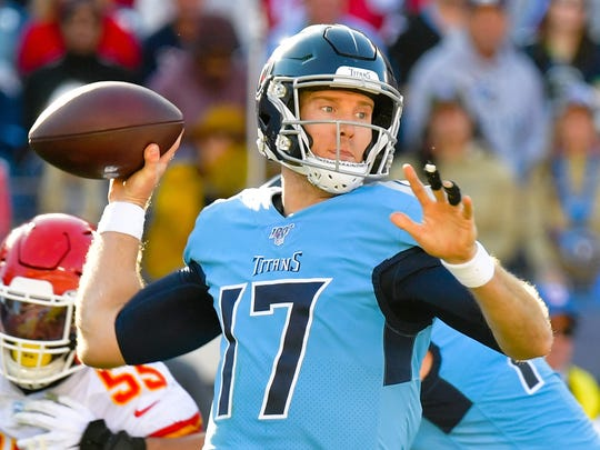 Nov 10, 2019; Nashville, TN, USA; Tennessee Titans quarterback Ryan Tannehill (17) passes against the Kansas City Chiefs during the second half at Nissan Stadium. Mandatory Credit: Jim Brown-USA TODAY Sports