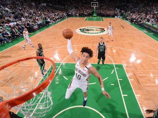 Jaxson Hayes #10 of the New Orleans Pelicans dunks the ball against the Boston Celtics on January 11, 2020 at the TD Garden in Boston, Massachusetts.