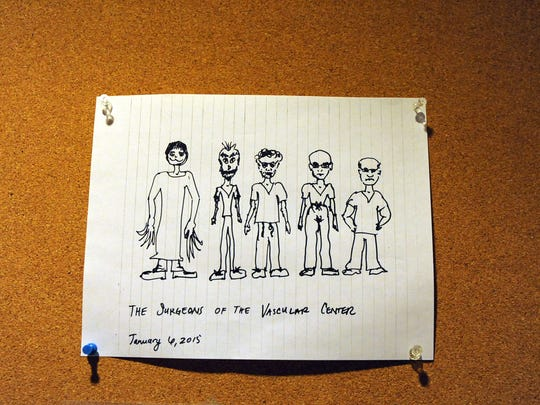 A drawing portrays the vascular surgery staff at Mission's St. Joseph Campus.