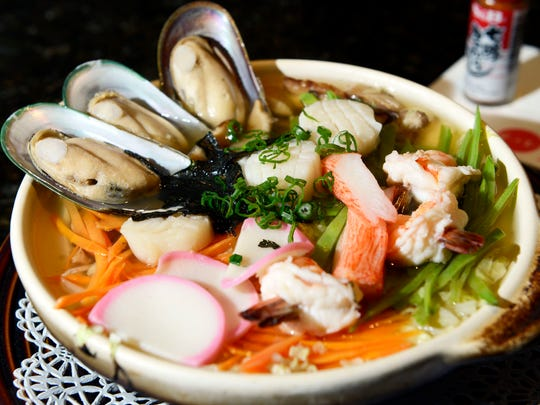 The Yosonabe, a noodle bowl with seafood.
