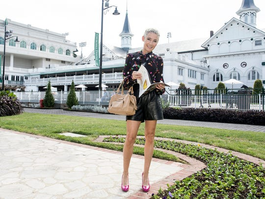 Former jockey and current NBC racing reporter Donna Barton Brothers shows off her style at Churchill Downs.