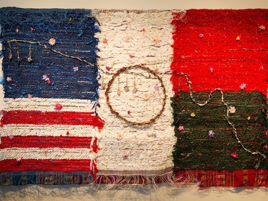 """""""Home of the Brave,"""" one of Consuelo Jimenez Underwood's woven textile pieces on view through May 3 at the Nevada Museum of Art, 160 West Liberty Street in downtown Reno, Nev."""