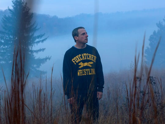 "Steve Carell in a scene from ""Foxcatcher."" Carell portrays John du Pont, a millionaire convicted of third-degree murder in the death of Dave Schultz, an Olympic champion freestyle wrestler."