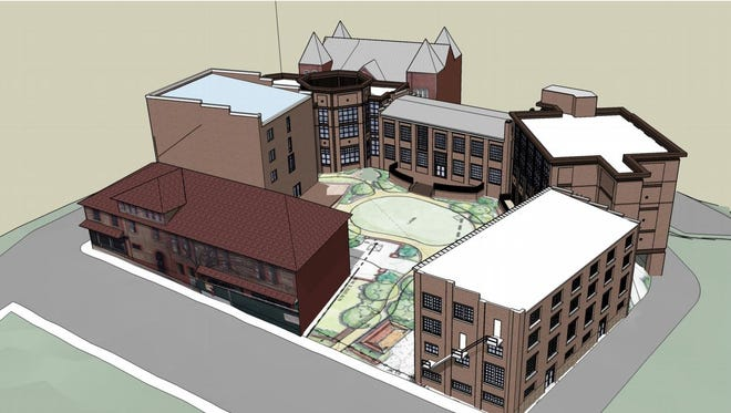 A rendering of the 90-room hotel proposed for downtown Asheville.