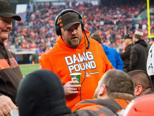 Cleveland Browns offensive coordinator Freddie Kitchens talks on the sidelines during the second half at FirstEnergy Stadium. Kitchens is now the head coach in Cleveland.