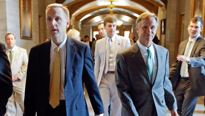 Mark Cate, middle, stepped down in 2015 as chief of staff to Gov. Bill Haslam. He has since registered as a state lobbyist after a Tennessean investigation into his activities during a one-year cooling-off period after leaving Haslam's office.