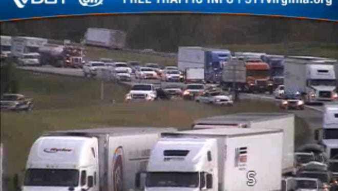 The view from VDOT''s traffic cam at mile marker 225 in Staunton at 6:20 p.m. Wednesday, May 11, 2016.