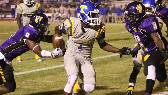 8. Columbus Falcon Tryell Hudgins forces the fumble that will result in a turnover from Tupelo's wide receiver Jordan Jernigan
