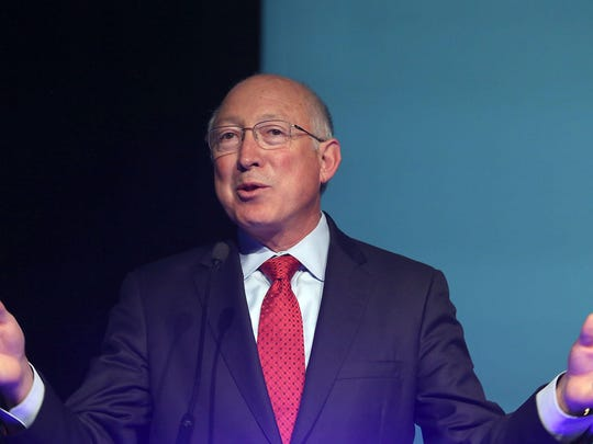Former Interior Secretary Ken Salazar speaks at the Southern California Energy and Water Summit in Palm Springs on Oct. 1, 2015.