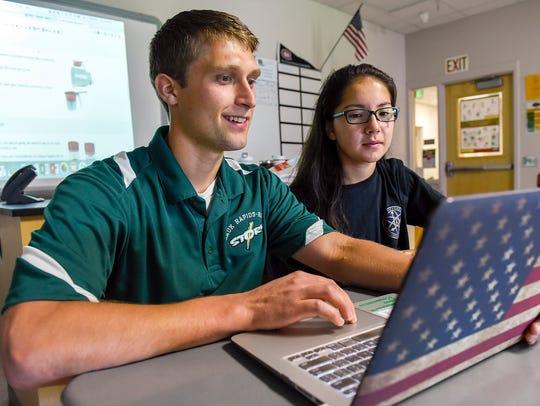 Sauk Rapids-Rice High School student Ashley Tapio talks