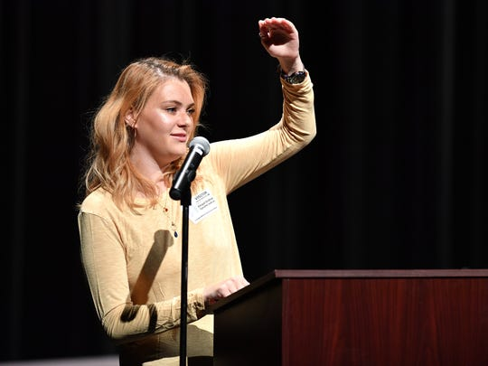 Vanderbilt University freshman Abby Brafman, organizer of March for Our Lives-Nashville and graduate of Stoneman Douglas Class of 2017, speaks Wednesday, March 14, 2018, at Creswell Middle Prep School Of The Arts. The assembly is part of the National School Walkout event marks the one-month anniversary of the shooting at Marjory Stoneman Douglas High School in Parkland, Fla.