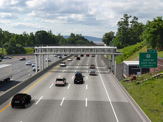 A rendering of the recently-installed all-electronic toll collection system on the southbound Thruway in South Nyack. The system will go live in spring 2016.
