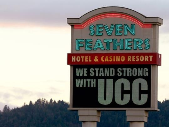 A sign at the Seven Feathers resort south of Roseburg,
