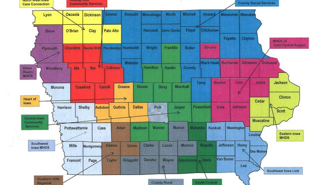 A map of the mental health districts in Iowa.