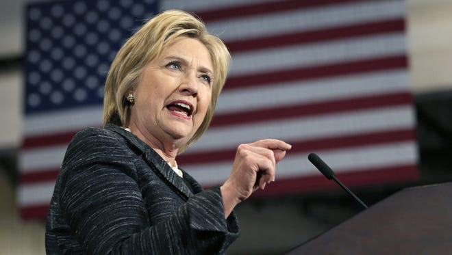 Democratic  candidate Hillary Clinton speaks during a rally at Cuyahoga Community College in Cleveland on Tuesday.