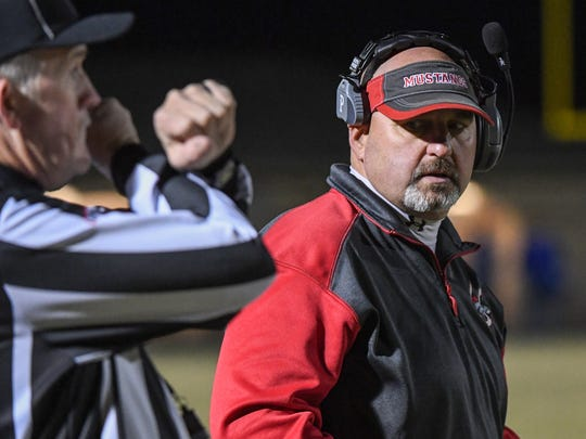Palmetto Head Coach Doug Shaw looks toward the referee during the first quarter of the Class AAA 2017 SCHSL Football State Championships at Chapman High School in Inman on Friday.