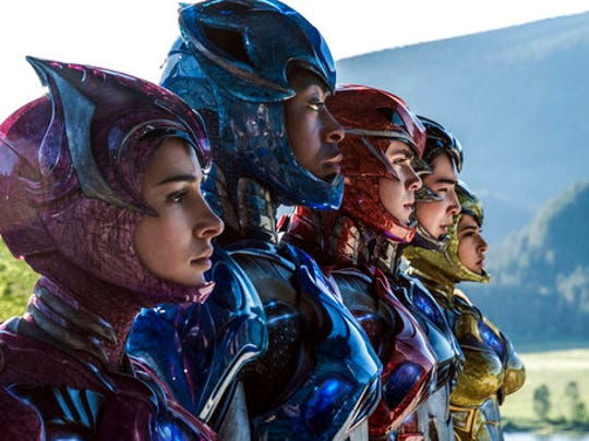 """In this image released by Lionsgate, Naomi Scott, from left,  RJ Cyler, Dacre Montgomery, Ludi Lin and Becky G appear in a scene from, """"Power Rangers."""""""