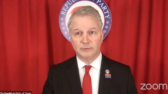Texas Republican Party Chairman James Dickey presides over a special online meeting Thursday at which the State Republican Executive Committee voted to proceed with an in-person convention in Houston July 16, 17 and 18.