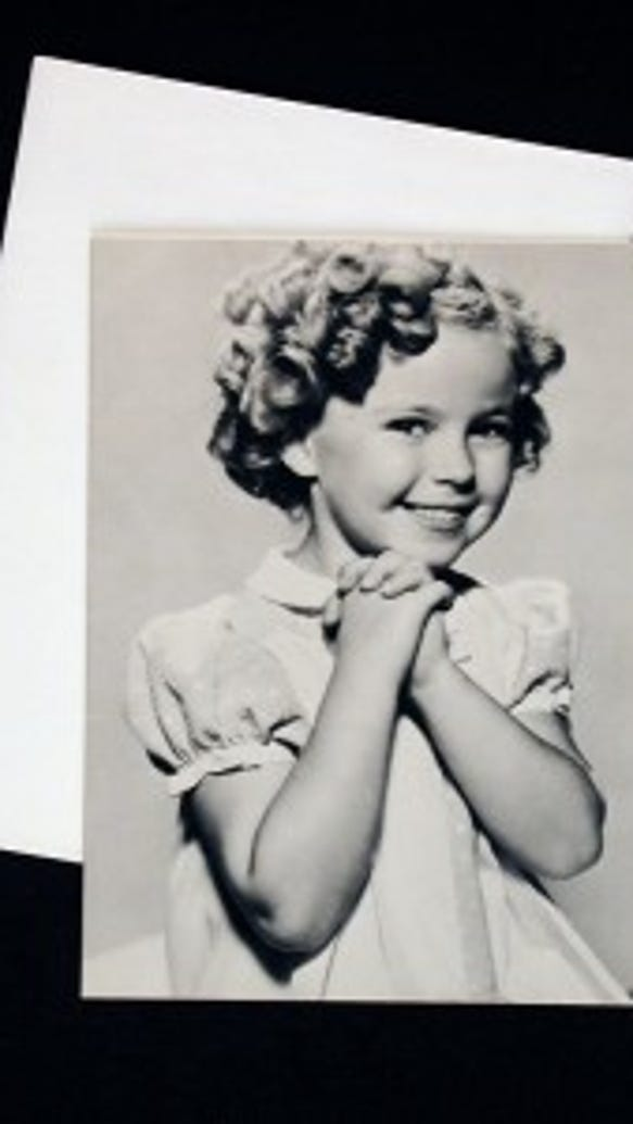 Shirley Temple graces the front of a greeting card from the 1970s. Decades after her movie career ended, the image of a young Shirley Temple remained popular. Gift of Joan M. Hopkins, courtesy of The Strong, Rochester, New York.