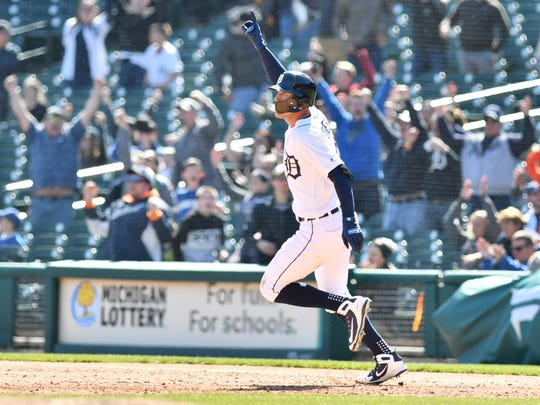 The Tigers' JaCoby Jones rounds the bases on his walk-off home run in the 10th inning of Game 1 Friday.