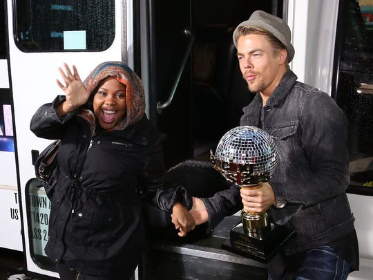 "Champions Amber Riley and Derek Hough from Season 17 of ""Dancing With The Stars"" visits ""Good Morning America"" in  Times Square on Wednesday morning."