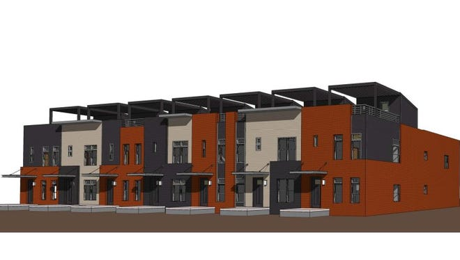 Hubbell Realty plans to build 27 townhomes based on this design in downtown's Western Gateway area.