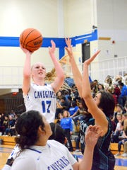 Carlsbad's Carsyn Boswell puts up a shot on Friday,