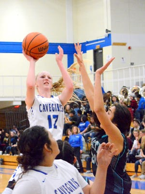 Carlsbad's Carsyn Boswell puts up a shot on Friday, Feb. 3 against Onate. The Cavegirls sophomore shooting guard made the All-USA New Mexico Girls Basketball First Team.