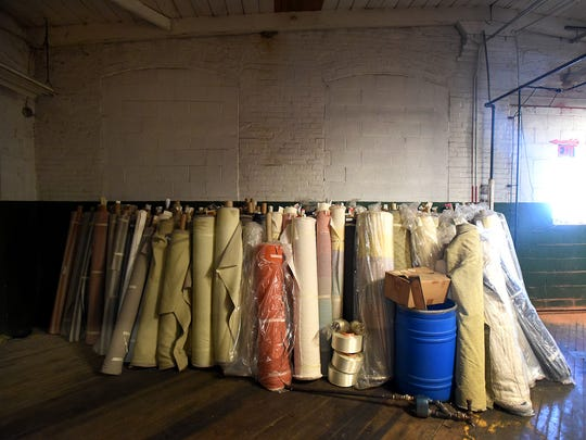 Rolls of fabric line the wall inside the historic Keystone Weaving Mill building at 1349 Cumberland St., Lebanon, which is ready for its next phase as a multi-use business complex called The Collective at Keystone.