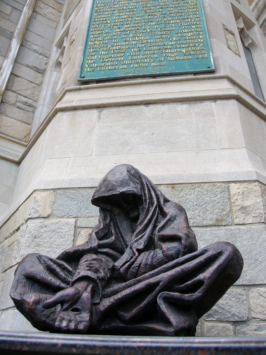 Sculpture of homeless Jesus finds home at Detroit church