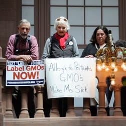 Demonstrators rally in favor of labeling genetically modified food at the Capitol in Albany, N.Y., last month.