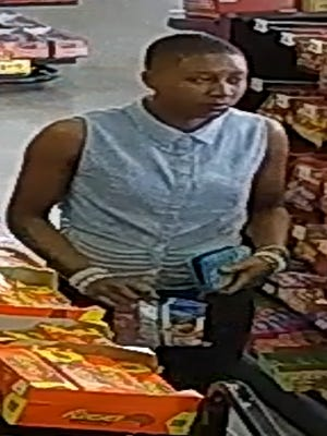 Jackson police are searching for a woman suspected of stealing a cell phone from Raceway on South Highland Avenue.