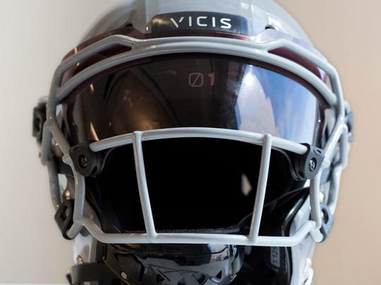 The NFL for the first time is prohibiting certain helmets from being worn by players.   Mark Lennihan/AP FILE - In this Sept. 11, 2017, file photo, a VICIS Zero1 helmet is displayed in New York. The NFL for the first time is prohibiting certain helmets from being worn by players. In notifying the 32 teams Monday, April 16, 2018, the league has sought to have players stop using 10 helmet varieties. Laboratory testing showed that the VICIS Zero 1 models of 2017 and 2018 rate best for player safety. (AP Photo/Mark Lennihan, File)