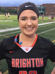Senior Hannah Kelley was a standout in the midfield during Brighton's 14-9 regional final win over Northville.