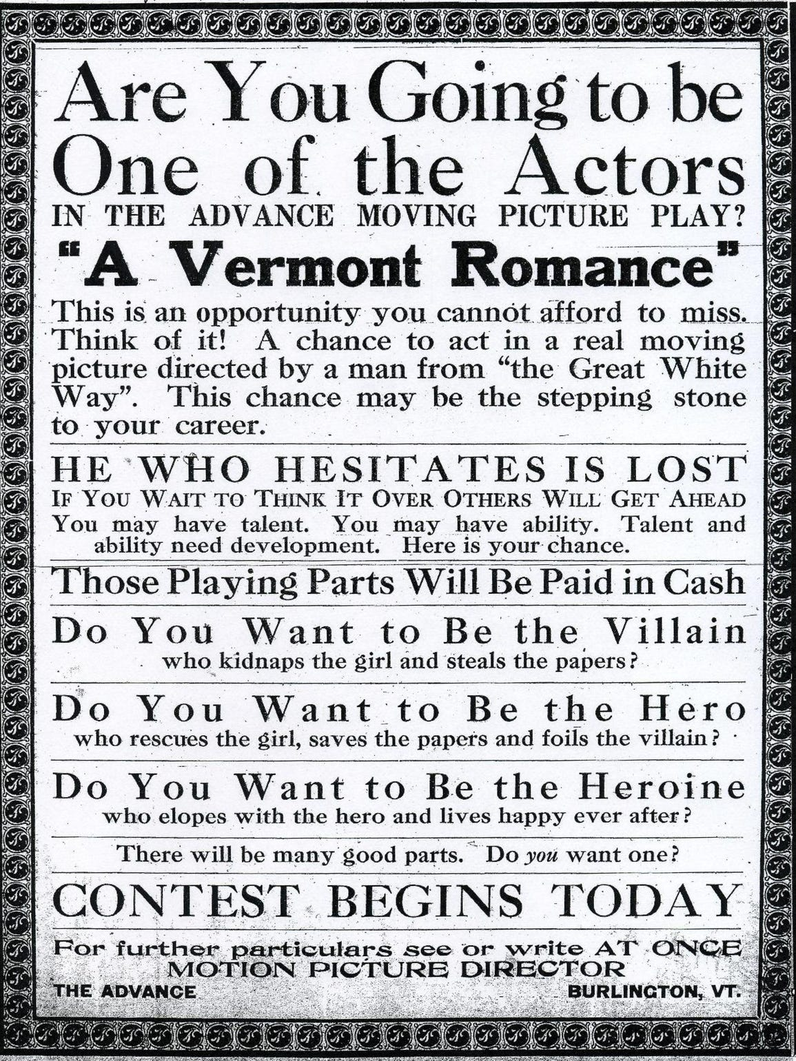 A 1916 announcement in The Vermont Advance looking