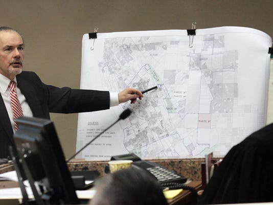 """Socorro City Attorney Jerry Wallace presents his case on the annexation plan Thursday before visiting Judge Stephen Ables. Ables ordered the Socorro City Council to call for an election in November for Districts 1, 2 and 3 and the removal of Jesus """"Jesse"""" Gandara Jr. and Guillermo """"Willie"""" Madrid Jr. from the council."""