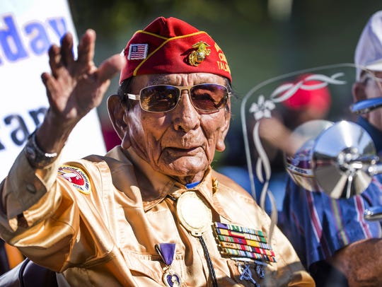 Marine Corps veteran Sam Holiday heads south on Central