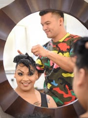 """Jaryna Balbas, Miss Pacificana 2015, gets her hair """"did"""" by stylist Raymond Santos at the Dusit Thani Guam Resort on Oct. 14."""